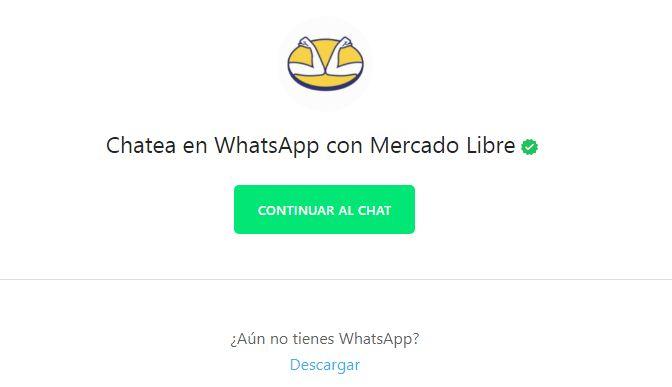 Atención al cliente Mercado Libre vía Whatsapp